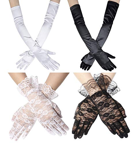 Adramata Long Opera Gloves for Women White Black Elbow Glove 1920s Accessories Lace Gloves Party Costume