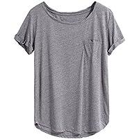 makemechic Mujer Verano Manga Corta Bolsillo Casual Loose T Shirt Tops