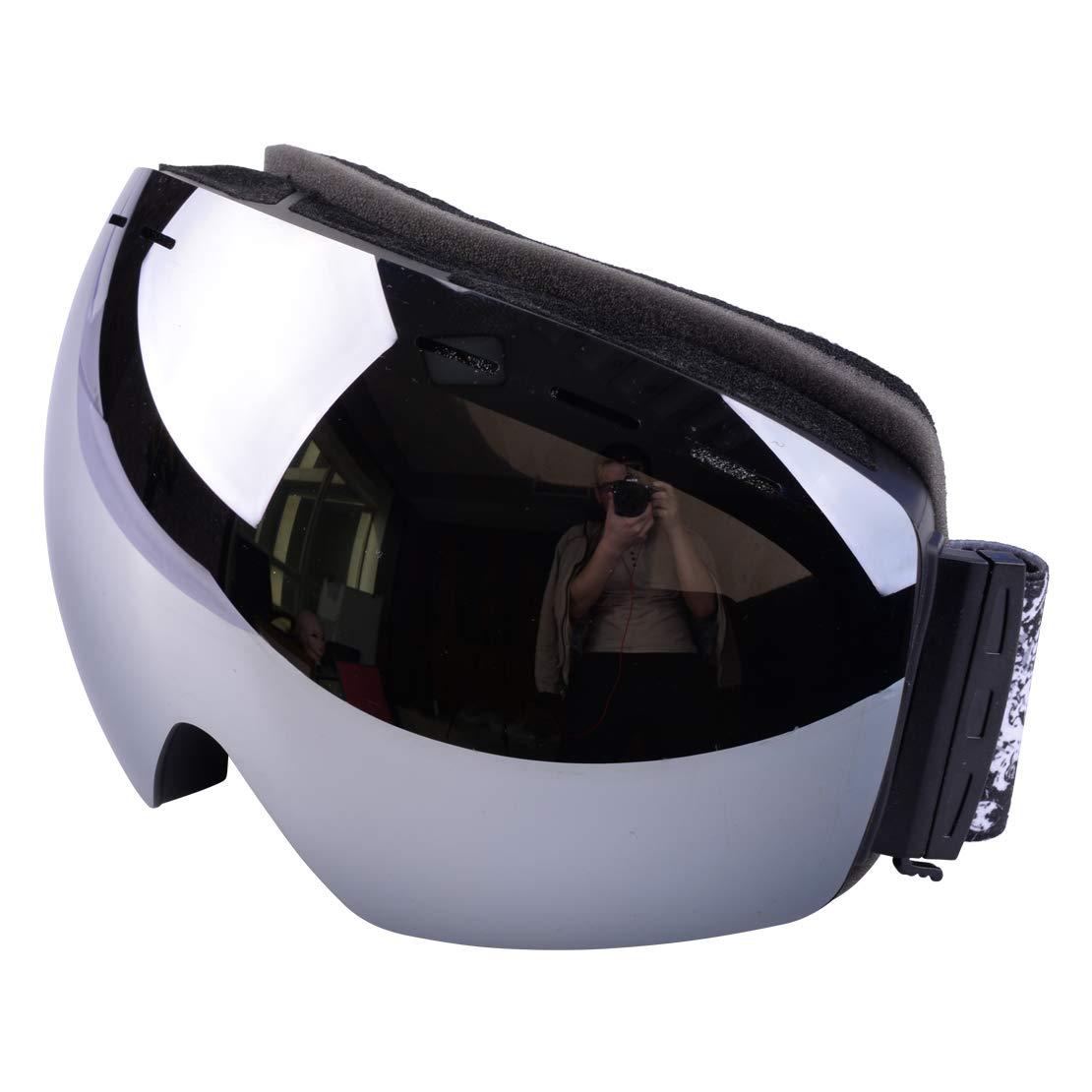 フレームレス ダブルレンズ プロフェッショナル スノーボード 曇り止め スポーツグラス UV保護 ケース スキー ゴーグル 素材:TPU&ポリカーボネート&スポンジ&コットン シルバー YCL00577P1 シルバー(Silver) B07HK9DQN2