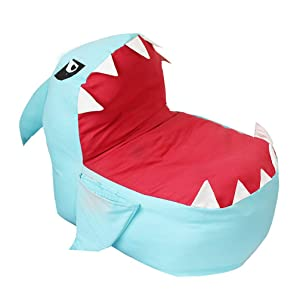 DreamsEden Shark Stuffed Animal Storage Bag Chair Dual-use Toy Organization Seat for Kids (Blue)