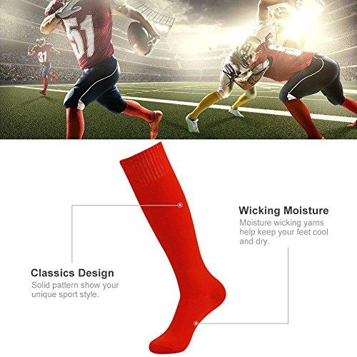Compression 10 Solide 2 3street Tube De 2 nbsp;paires Genou Unisexe Sport Blue Red Soccer 6 Chaussettes Haute Pairs qP0wf0t