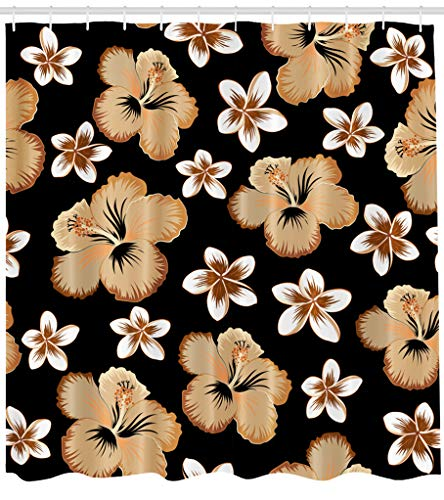 ASOCO Fabric Shower Curtain Hawaiian Aloha Shirt Orange Brown and Beige Colors Black Art Artwork Bathroom Shower Curtains Resistant Waterproof Set of Hooks 72X72 Inches