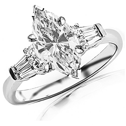 14K White Gold 0.96 CTW Prong Set Round And Baguette Diamond Engagement Ring w/ 0.61 Ct Marquise Cut J Color VS2 Clarity Center (Marquise Vs2 Ring)