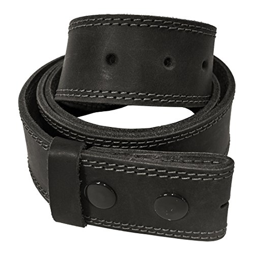 - Men's Two Row Stitch Thick Leather Snap On Belt Handmade by Hide & Drink :: Charcoal Black (Size 36)