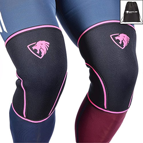 Knee Sleeves ( 1 Pair w/ bag ) Best Orthopedic Knee Support & Pain Compression Brace for Squats, WOD, Weightlifting, Powerlifting - Primal Elite Sports 5mm and 7mm Strong Knee Sleeves - Unisex