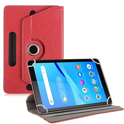 TGK Universal 360 Degree Rotating Leather Rotary Swivel Stand Case Cover for Lenovo Tab M7 Tablet 7 inch – Red