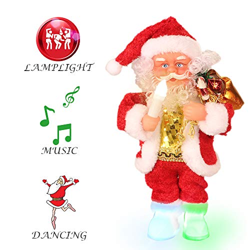 Claus Vintage Doll Santa - ElementDigital Christmas Santa Musical Doll, Dancing and Singing Xmas Plush Electric Toy Christmas Gift Electric Christmas Doll (Candle Lamp)