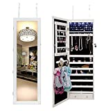 Soges Jewelry Cabinet with Full-Length Mirror Lockable Standing Jewelry Armoire Organizer with 6 LED Light, White L063-W-CA