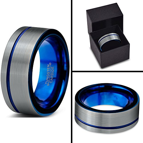 Charming Jewelers Tungsten Wedding Band Ring 8mm for Men Women Blue Grey Offset Line Flat Cut Brushed Size 8 by Charming Jewelers (Image #4)