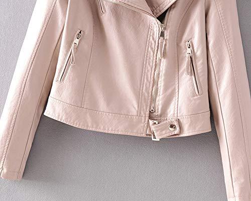 Giacca Donna Corto Pink Moto Zip Con Finta Pelle Giubbotto Risvolto ZTdZqwxBr