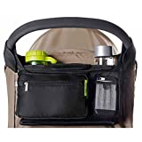Black Mini Crib with Changing Table BEST STROLLER ORGANIZER for Smart Moms, Premium Deep Cup Holders, Extra-Large Storage Space for iPhones, Wallets, Diapers, Books, Toys, & iPads, The Perfect Baby Shower Gift!