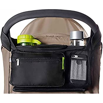 BEST STROLLER ORGANIZER for Smart Moms, Premium Deep Cup Holders, Extra-Large Storage Space for iPhones, Wallets, Diapers, Books, Toys, & iPads, The Perfect Baby Shower Gift!