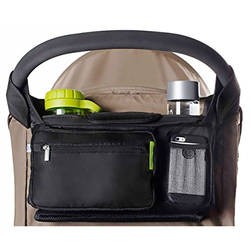 Best Stroller Organizer for Smart Moms, Premium Deep Cup Holders, Extra-Large Storage Space for iPhones, Wallets, Diapers, Books, Toys, iPads, The Perfect Baby Shower Gift! ()