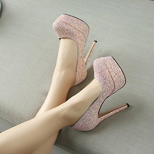 YE Damen Glitzer Pumps Geschlossene High Heels Plateau mit Stiletto und Pailletten 14cm Absatz Elegant Party Schuhe Rosa