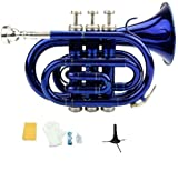 Merano B Flat Blue Pocket Trumpet with Case+Mouth Piece;Valve oil;A Pair Of Gloves;Soft Cleaning Cloth+Stand