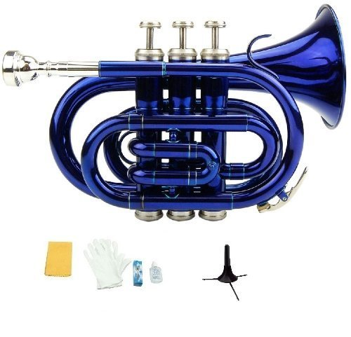 Merano B Flat Blue Pocket Trumpet with Case+Mouth Piece;Valve oil;A Pair Of Gloves;Soft Cleaning Cloth+Stand by Merano
