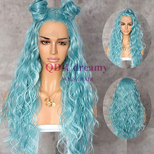 QD-Udreamy Light Blue Color Natural Long Wavy Synthetic Lace Front Wigs Party Wigs Heat Resistant Synthetic Hair Wigs for Women Make up ...]()