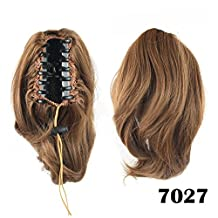 DAYISS Womens Short Wavy Curly Black/Brown/Flax Hairpiece Extension Claw Clip In Pony Tail Cosplay Party/Daily Wear (7027)