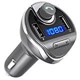 Criacr Bluetooth FM Transmitter, Wireless In-Car FM Transmitter Radio Adapter Car Kit, Universal Car Charger with Dual USB Charging Ports, Hands Free Calling for iPhone, Samsung, etc (Grey)