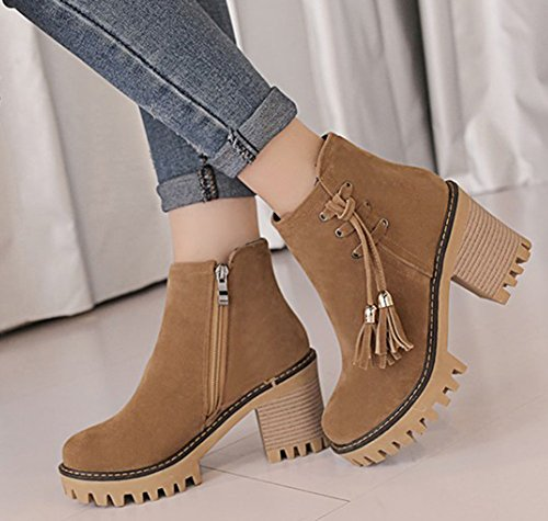 IDIFU Womens Retro Fringe Round Toe High Block Heeled Faux Suede Ankle High Boots With Side Zipper Khaki g38LAgz