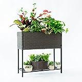 C-Hopetree Pot Plant Stand Indoor Outdoor Flower Pot Holder Patio Planter Balcony Woven Flower Box Metal