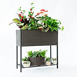 C-Hoptree Pot Plant Holder Stand Raised Succulent Herbs Flower Planter Shelf Patio Woven Flower Box