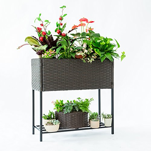 C-Hoptree Pot Plant Holder Stand Raised Succulent Herbs Flower Planter Shelf Patio Woven Flower Box (Planter Raised Indoor)