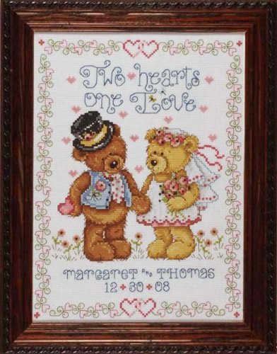 Design Works Two Hearts Wedding Sampler Cross Stitch Kit, Multi-Colour ()