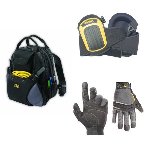 Custom Leathercraft 1134 48-Pocket Tool Backpack with 125 Handyman Large Gloves and Dewalt DG5204 Layered Gel Knee Pads