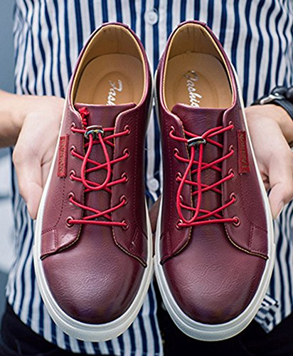 Insun Mens Lace Up Lage Top Oxford Sneakers Bordeauxrood