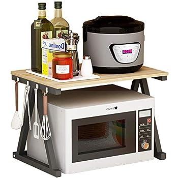 Haotrend Microwave Shelf, Microwave Stand Kitchen Counter Shelf Organizer, Spicy Shelf Rack Toaster Organizer, Microwave Oven Rack, 2 Tiers with Hooks (Light Beige Board + Black Metal Frame)