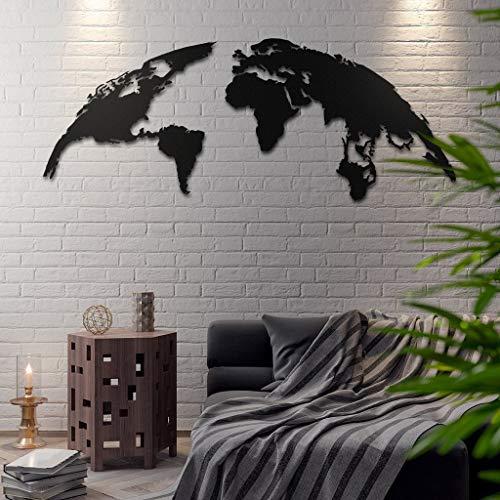 Bekata TheGlobe - Metal World Map, Metal Wall Art, World Map and Compass Themed Wall Decor 60