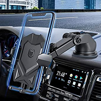Car Phone Mount Holder for Dashboard Windshield Compatible with All iPhone & Android Cell Phones, Black