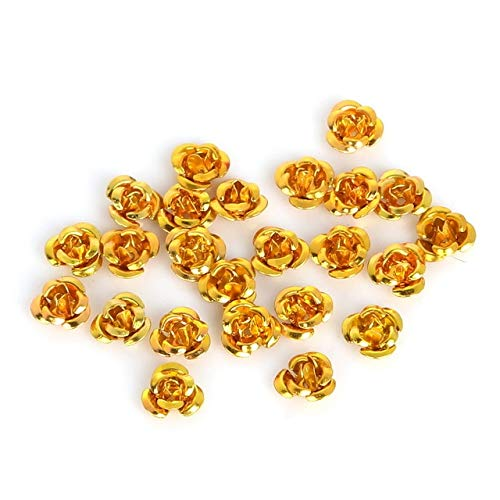 Utini New Approx 300pcs Rose Flower Aluminum Jewelry Findings Spacer Beads for DIY Fashion Bracelet Necklace Making Creative Crafts - (Color: Gold, Size: 12mm)