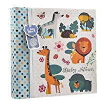 Baby Boy Blue Slip In Case Memo Photo Album 4 x 6'' For 200 Photos - Woodland Animals - Ideal Gift (Blue)