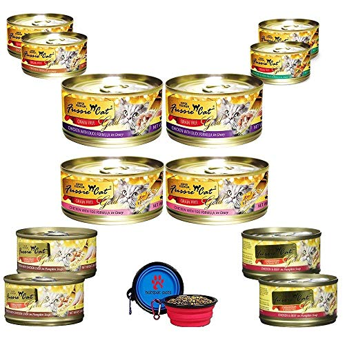 Fussie Cat Super Premium Canned Cat Wet Food - 12 Pack Cans Variety Bundle Pack W/HS Pet Food Bowl - (6 Flavors