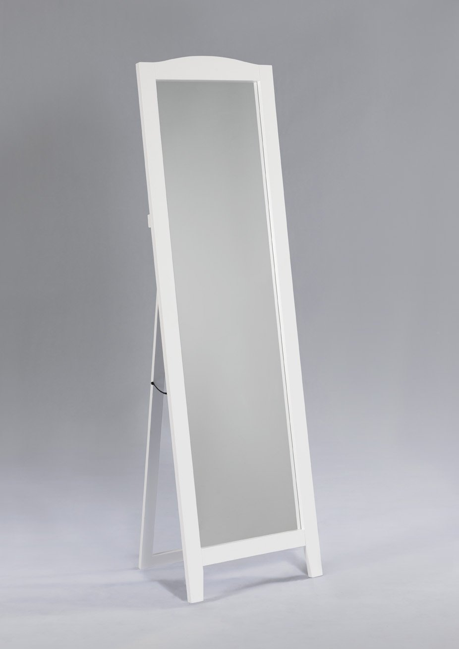 King's Brand Black Finish Wood Frame Floor Standing Mirror King's Brand M9055-BL