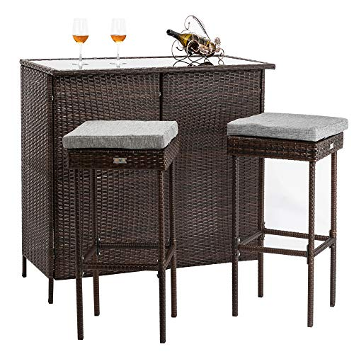 Bonnlo 3PCS Outdoor Wicker Bar Set with Stools and Glass Top Table for Lawn Pool Backyard Garden, Front Porch, Rattan Table and Stools Patio Bar Furniture with Comfortable Cushions (Height Glass Bar)