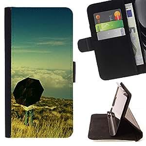 For Samsung ALPHA G850 Case , Paraguas Pensamiento Profundo Cielo Significado- la tarjeta de Crédito Slots PU Funda de cuero Monedero caso cubierta de piel