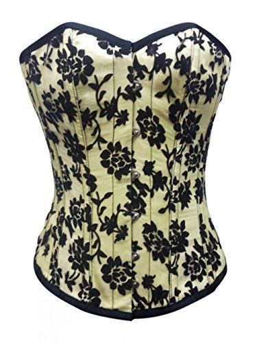 できるユーモラスアクセスYellow Satin Black Goth Burlesque Bustier Waist Training Overbust Corset Costume