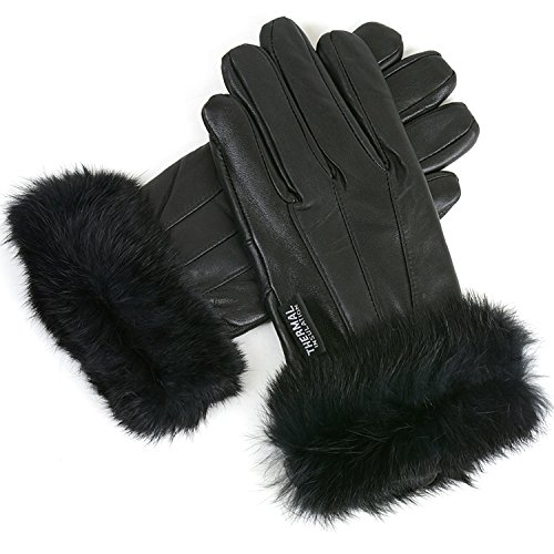 Alpine Swiss Women's Leather Dressy Gloves Rabbit Fur Trim Thermal Lined BLK XL