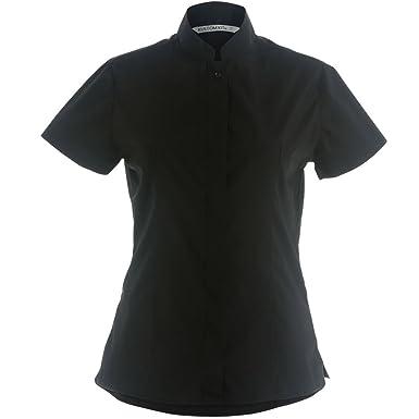 c855cbcb2483 Women s Mandarin Collar Fitted Short Sleeved Shirt by Kustom Kit - Black - 8