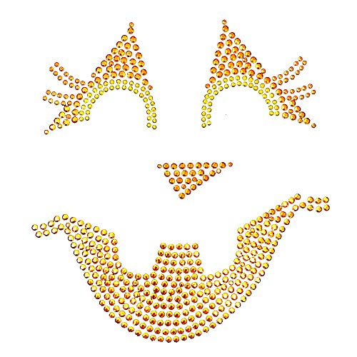 Jackie Lantern Halloween Face Iron On Rhinestud T-Shirt Transfer by JCS Rhinestones]()
