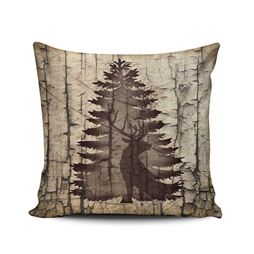 WEINIYA Home Decoration Throw Pillow Case Brown 24X24 Inch Rustic Tree Bark Texture Deer Square Custom Pillowcase Cushion Cover Double Sided Printed (Set of 1)