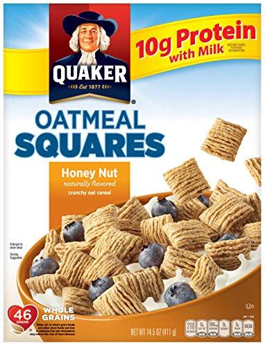 - Quaker Oatmeal Squares, Honey Nut, Breakfast Cereal, 14.5 oz Box