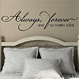 Always, forever and no matter what vinyl lettering wall decal (Black, 12x46)