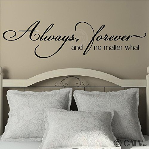 """Always, Forever, and No Matter What Vinyl Lettering Wall Decal Sticker (12""""H x 46""""L, Black)"""