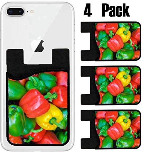 MSD Phone Card holder, sleeve/wallet for iPhone Samsung Android and all smartphones with removable microfiber screen cleaner Silicone card Caddy(4 Pack) IMAGE ID 26324031 Capsicums Bell Peppers in a (Capsicum Bell Pepper)