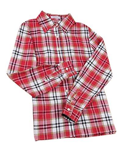 Longues Shirts Femmes JackenLOVE Treillis Gros Rouge Tops Manches Printemps Automne Chemises et Hauts Revers Casual Chemisiers Tee Fashion Blouse CzwzZqt
