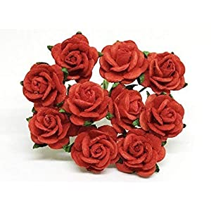 """1/2"""" Red Paper Roses, Mulberry Paper Flowers, Miniature Flowers, Mulberry Paper Rose, Paper Rose Flower, Wedding Favor Decor, Mini Red Roses, 50 Pieces 38"""